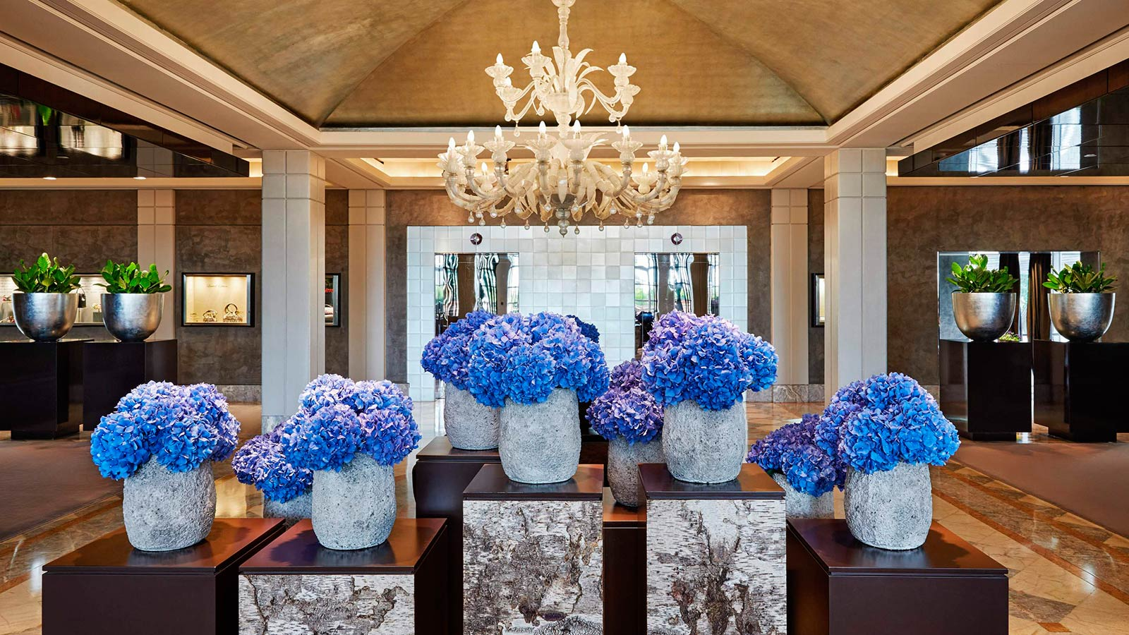Lobby with flowers by Donna Stain